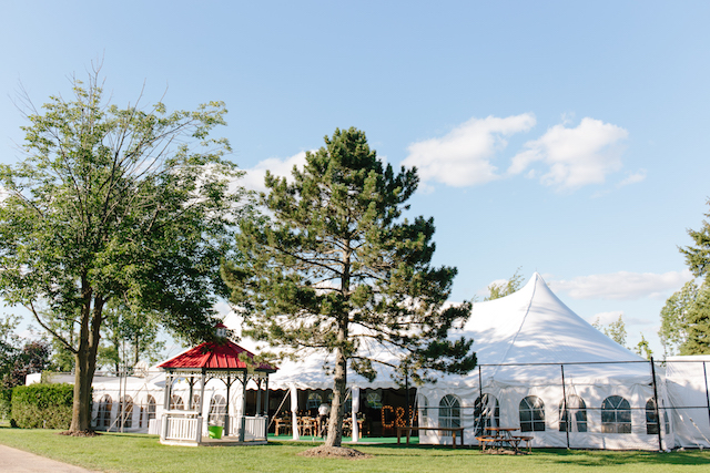 Happenings Party Rentals 50X100 Pole Tent in Caledon for Wedding Reception