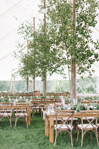Harvest Tables and Crossback Under the Stillwater - Happenings Party Rentals