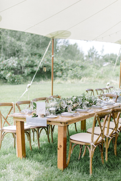 Harvest Tables and Crossbacks - Happenings Party Rentals