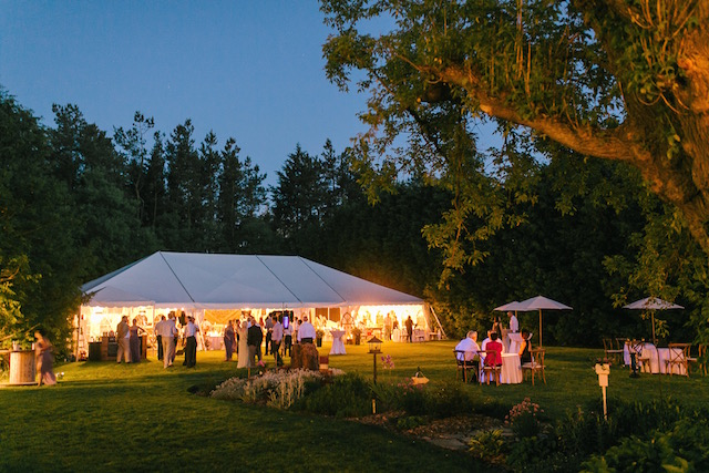 Happenings Party Rentals 40X70 Frame Tent at Night