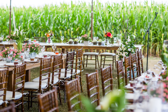 Happenings Party Rentals Chiavari Chairs and Harvest Tables in Stratford Awaiting the Guests