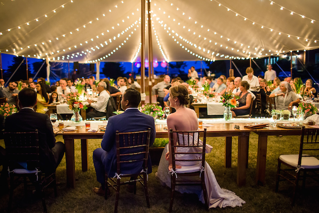 Happenings Party Rentals Stillwater Tent with Cafe Lights Wedding Ceremony