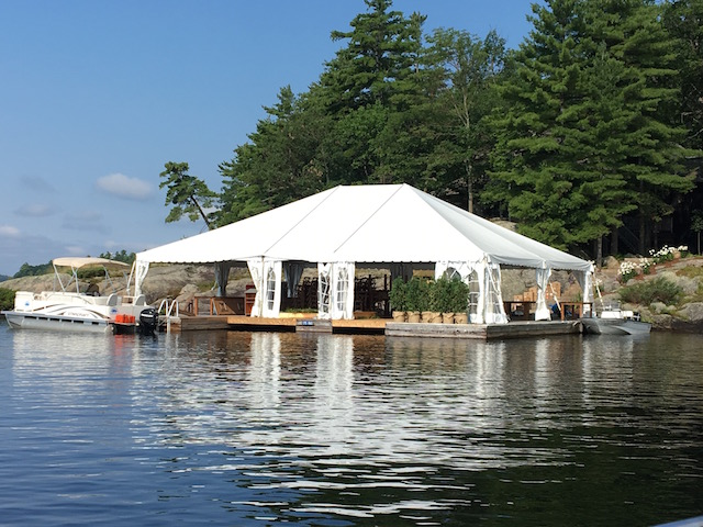 Happenings Party Rentals 40X50 Frame Tent on a Dock on Lake Rosseau