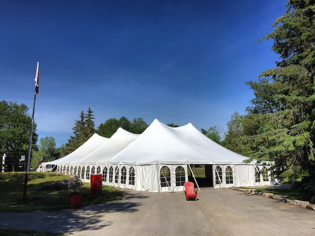 Happenings Party Rentals 60X120 Pole Tent at Lake Rosseau College